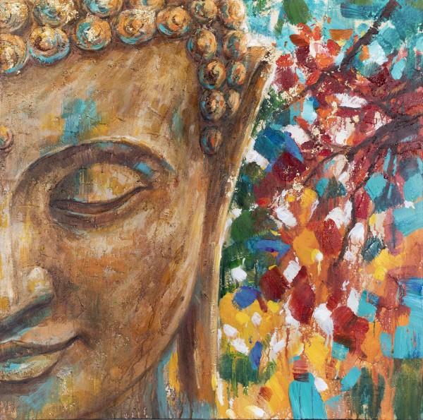 Wandbild PART OF BUDDHA 2, handgemalt, in Acrylfarben