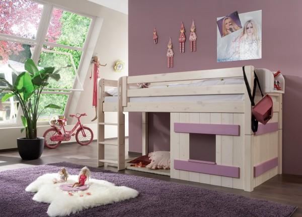 Halbhochbett mit Holz-Dekoelement INFANSKIDS in weiß/flieder