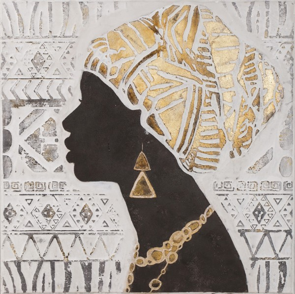 Struktur-Wandbild Frau im Profil 2