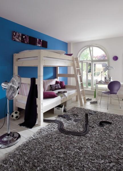 Hohes Abenteuerbett mit schräger Leiter TOBYKIDS; Abbildung zeigt Etagenbett 1073-30