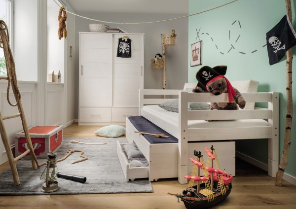 Einzelbett mit Bettschub- und 2 Rollschubästen INFANSKIDS