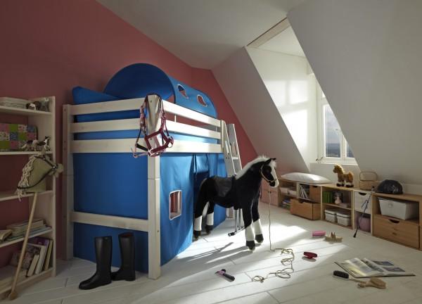 Mittelhochbett mit Tunnel und Vorhängen INFANSKIDS