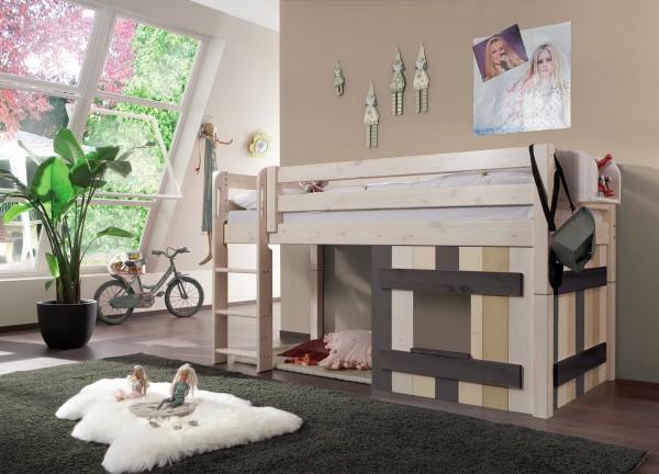 Halbhochbett mit Holz-Dekoelement MERLIN