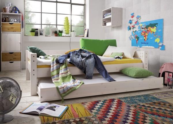 Einzelbett mit hinterer Absturzsicherung und Bettschubkasten TOBYKIDS