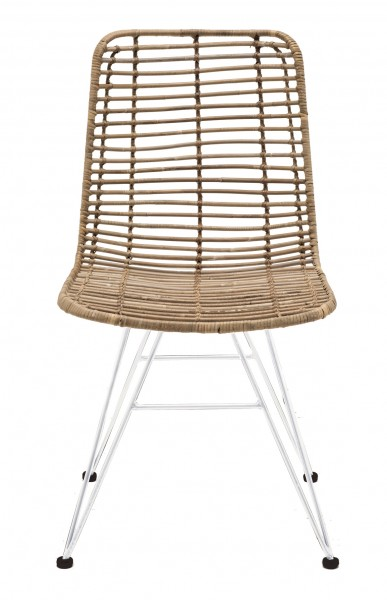 Rattan-Stuhl NEW YORK, Sitzschale natur / Gestell weiß