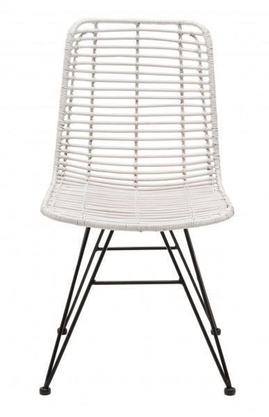 Rattan-Stuhl NEW YORK, Sitzschale weiß / Gestell scharz