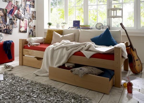 Abb. zeigt das Einzelbett mit hinterer Absturzsicherung und 2 Rollschubkästen TOBYKIDS