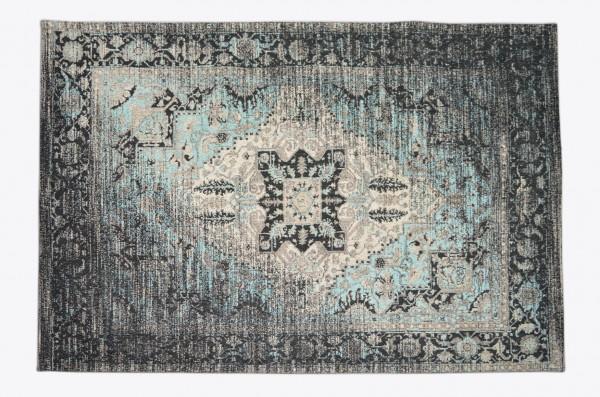 Vintage-Teppich PASSION, schwarz-grau / türikis