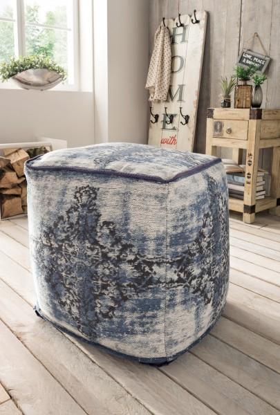 Vintage-Sitzhocker ANTIQUITY, blau