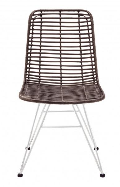 Rattan-Stuhl NEW YORK, Sitzschale schwarz / Gestell weiß