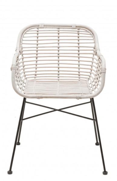 Rattan-Stuhl mit Armlehnen DETROIT in weiß mit schwarzem Gestell