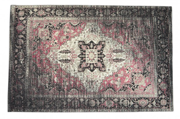 Vintage-Teppich PASSION, schwarz-grau / altrosa