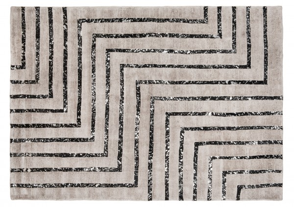 Leder/Viskose-Teppich HAMPTON, 200 x 300 cm, silber/schwarz