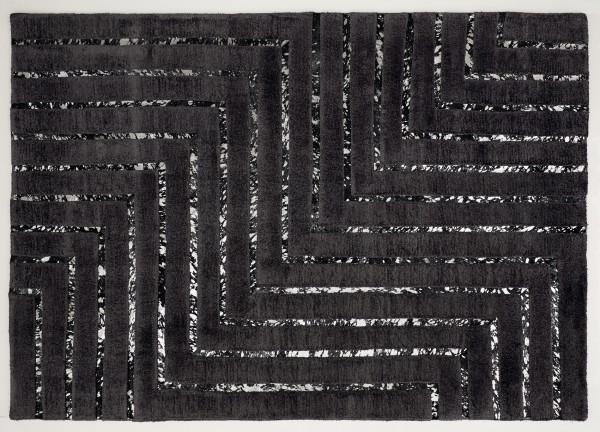 Leder/Viskose-Teppich NEW YORK, 200 x 300 cm, schwarz/silber