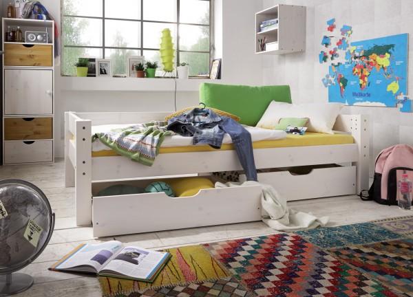 Einzelbett mit hinterer Absturzsicherung und 2 Rollschubkästen TOBYKIDS