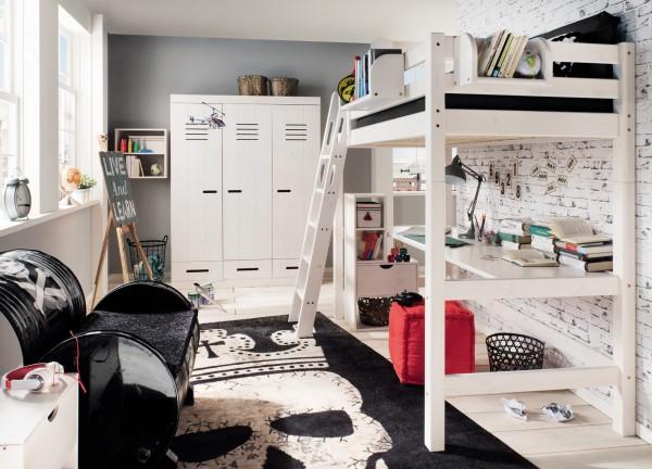 Hochbett mit Schreibtischplatte INFANSKIDS