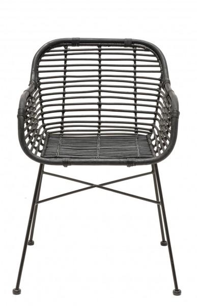 Rattan-Stuhl mit Armlehnen DETROIT in schwarz mit schwarzem Gestell